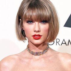 Taylor Swift, bob haircut with bangs.....