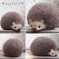 Cute Needle felted wool animals hedgehog(Via @kuufelt)