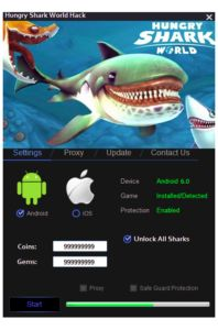 Hungry World Shark Hack It is a very simple tool. Do not worry, you do not have the skills to use it. With us, you can add a key resource for the game or golds and gems.  DOWNLOAD: http://mobile-games-hack.com/hungry-shark-world-hack/
