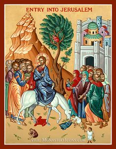 Vintage Palm Sunday Icon Religious Wall Art Plaque of Jesus Entrance Into Jerusalem, Mounted on Wood, Palm Sunday, Easter Holy Week, Religious Icons, Religious Art, Jesus Enters Jerusalem, Monastery Icons, Paint Icon, Byzantine Icons, Palm Sunday, Holy Week, Oriental