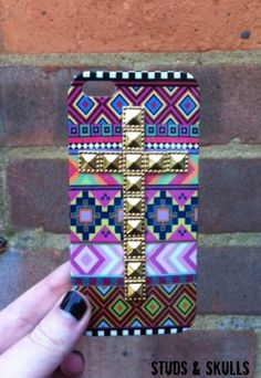 Pink Aztec Tribal Gold Dotted Cross Studded Matte iPhone 5 5G Phone Case. £10.00, via Etsy.