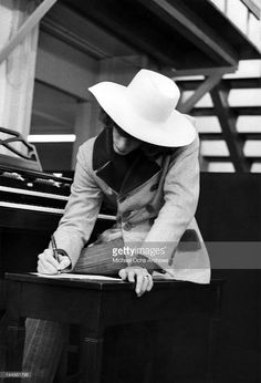 Robin Gibb of the pop group The Bee Gees composes in the studio circa 1968