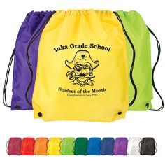 Our Cinch Up Backpack comes in great colors for schools, sports teams, and giveaways at bookstores. They also are great for marathons till fill up with sponsor items. They have adjustable straps and a drawstring closure and will look great customize with your logo!