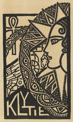 Ex libris (c. 1932) by Christian Waller (Australian, 1894-1954)