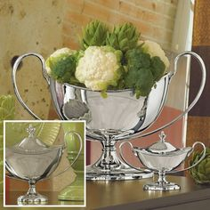 Large Nickel Plated Centerpiece Container from www.wellappointedhouse.com #homedecor #decorate #planters