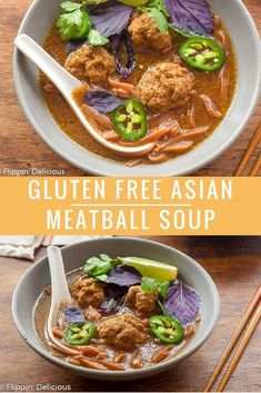 Gluten Free Asian Meatball Soup is inspired by one of my favorites, Pho! This fl… Gluten Free Asian Meatball Soup is inspired by one of my favorites, Pho! This flavorful bone-broth-based soup can easily be made in an Instant Pot, or on the stovetop. Gluten Free Soup, Gluten Free Recipes For Dinner, Healthy Gluten Free Recipes, Allergy Free Recipes, Gluten Free Snacks, Simple Recipes, Delicious Recipes, Dairy Free, Tasty