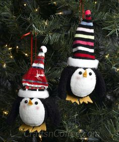 How cute are these stocking caps made from socks? DIY these Penguin Ornaments with tutorial on CraftsnCoffee.com.