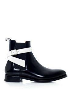 Handmade men chelsea boots, black leather boots for men, men belted boot, men's - Dress/Formal