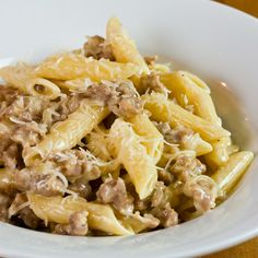 11/18/11 Pasta with sausage and cream my recipe uses garlic instead of onion (used just to flavor i remove it when cooked) and i add a dash of nutmeg. It is a yummy hearty meal for a chilly evening!