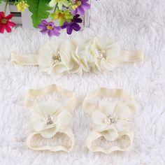 Newborn Baby Kids Girls Flower Headband Hair Band Headdress +Foot flower A3
