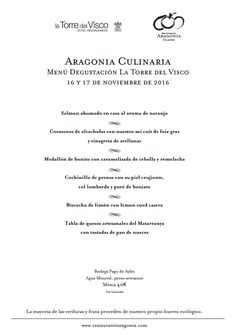 Menú degustación Aragonia Culinaria - Torre del Visco