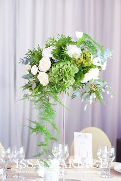 Wedding Centerpieces, Reception, Table Decorations, Furniture, Home Decor, Green Hydrangea, Weddings, Decoration Home, Room Decor