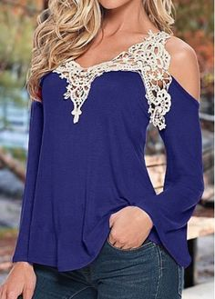 Navy Blue Cold Shoulder Lace Patchwork Blouse with cheap wholesale price, buy Navy Blue Cold Shoulder Lace Patchwork Blouse at Rotita.com !