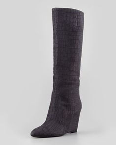 Bomand+Croc-Embossed+Wedge+Boot,+Matte+Black++by+B+Brian+Atwood+at+Neiman+Marcus.