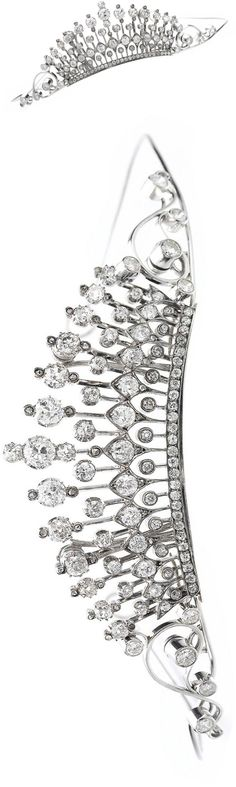 Diamond tiara Of scroll design, set with cushion-shaped, circular-, brilliant-cut and rose diamonds, image Sotheby's