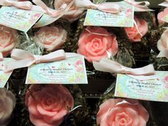 Set of 10 Shabby Chic Rose Soap Favors Bridal by SweetbodySoaps, $19.50