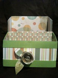 File/Mail/Bill holder and or separator! Made from a cereal box and scrapbook paper. Flower directions are on my Crafts pin board