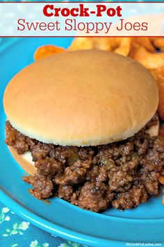 This kid friendly recipe for Crock-Pot Sweet Sloppy Joes is a cinch to toss together and makes for a quick and easy meal for any weeknight! Sweet Sloppy Joe Recipe, Sloppy Joe Recipe Crock Pot, Healthy Crockpot Recipes, Slow Cooker Recipes, Cooking Recipes, Gluten Free Recipes Crock Pot, Top Recipes, Recipes Dinner, Delicious Recipes