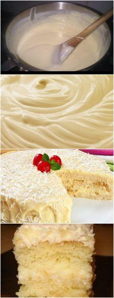 Bolo de creme branco e abacaxi…AMOO ❤️ VEJA AQUI>>>Em uma panela grande, dissolva o amido de milho no leite, junte as gemas e o açúcar. Leve ao fogo médio, mexendo sempre, até engrossar. Acrescente a margarina, misture, retire do fogo e reserve até esfriar #receita#bolo#torta#doce#sobremesa#aniversario#pudim#mousse#pave#Cheesecake#chocolate#confeitaria Cute Desserts, Love Cake, Coco, Vanilla Cake, Food And Drink, Cupcakes, Banana, Sweets, Snacks