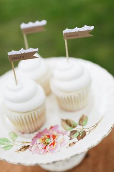 Custom Lace Rustic Paper Flag Cupcake Toppers