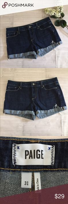 Paige Denim Distressed Shorts 31 Jean Shorts Paige Denim Shorts Size 31. Great condition! There is some distressing by cuffs. I folded back the shorts in one of the pics so you can see there is a seam before the fold over. Measurement in pics. PAIGE Shorts Jean Shorts