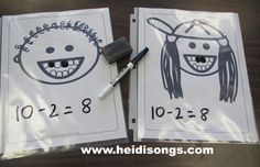 Heidisongs Resource: Loose Tooth Subtraction!  start with 10 and roll a die to see how many to subtract.  color the teeth and write the equation!