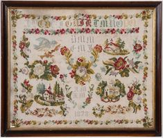 A Beautiful 19th Century Sampler Dated 1878 ~ Signed AM & KM