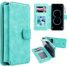 Mundaze Storage Luxury Wallet Case for Samsung Galaxy Teal, Blue Cases Iphone 6, Iphone 5s, Leather Wallet, Pu Leather, Galaxy S8, Samsung Galaxy, Magnetic Book, Cell Phones In School, Storage Design