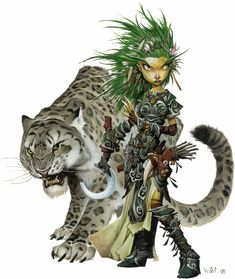 Gnome female druid sickle leather armor green hair leopard companion