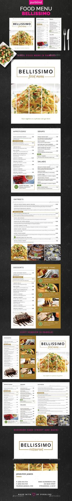 Restaurant Menu Set - Bellissimo Template PSD #design Download: http://graphicriver.net/item/restaurant-menu-set-bellissimo/13276115?ref=ksioks