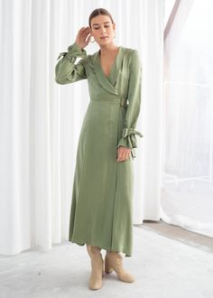 Model front image of Stories belted wrap maxi dress in green Long Fall Dresses, Spring Dresses, Maxi Wrap Dress, Maxi Dress With Sleeves, Midi Dresses, Floral Dresses, Wrap Dresses, Girly Outfits, Fashion Outfits