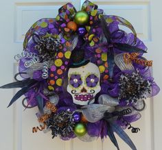 Day of the Dead Halloween Wreath by itsSandyMade on Etsy