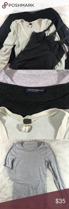 J Crew Brand Melville Free People Tops Lot sz S Another lot from my daughter's closet. J Crew long sleeve basic top sz Small  Brandy Melville Elephant Cropped Top (tiny hole on the back that was fixed). Otherwise excellent condition  Free People Thermal Top sz Small. Small mark on the shoulder (photo attached). Otherwise great condition  American Outfitters cami Top sz Small. Great condition. Free People Tops