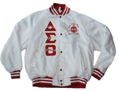 DELTA SIGMA THETA RED-WHITE TWO-TONE BASEBALL JACKET WITH PEARLS ...