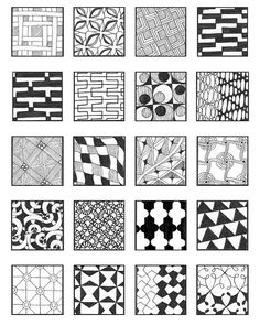 Zentangle Patterns for Beginners Sheets Dibujos Zentangle Art, Zentangle Drawings, Doodles Zentangles, Doodle Drawings, Doodle Designs, Doodle Patterns, Zentangle Patterns, Tangle Doodle, Zen Doodle