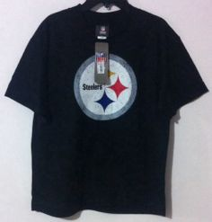 NFL Steelers Football Graphic Youth T-Shirt Large Black 100% Cotton