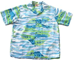 Vintage POMARE Men's Medium Hawaiian Aloha Shirt Bright Colors Island Ocean Palm