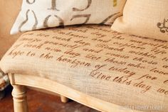 We went for natural burlap with these elegant cushions, playing up the primitive origins of the fabric by using stencils and stencil cream to mimic French scrollwork and old packaging labels.