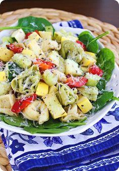 Tortellini spinach salad!