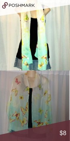 60 x 20 gorgeous  butterfly scarf Polyester but silky & smooth to the feel. Blue & cresm. Nwot Accessories Scarves & Wraps
