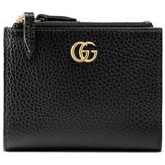 Gucci Gg Marmont Leather Wallet ($365) ❤ liked on Polyvore featuring bags, wallets, accessories, black, wallets & small accessories, women, real leather wallets, zipper bag, zip bag and leather zip wallet
