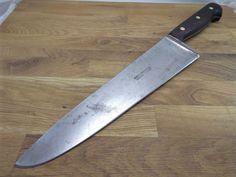 Razor Sharp CARBON STEEL Germany HEAVY Chef Splitter knife VTG Harold Leonard…