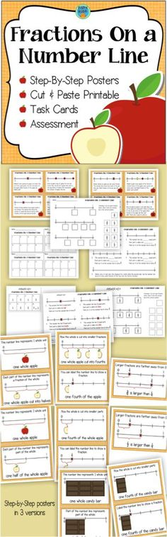 Comparing Fractions On A Number Line - posters, task cards, cut & paste, and assessment