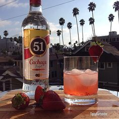 Strawberry Ginger Caipirinha  2 oz. (60ml) Cachaca 51 2 Strawberries 1 teaspoon Fresh Ginger 2 Lime Slices 1 oz. (30ml) Simple Syrup Muddle all the ingredients and shake vigorously.