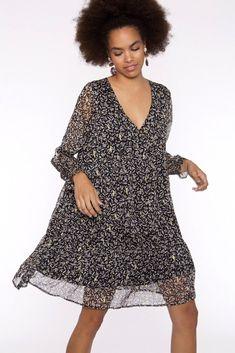 Vestido de gasa negro estampado Boho Chic, Estilo Boho, Boutique, Belle Photo, Cover Up, Dresses With Sleeves, Collection, Long Sleeve, Photos