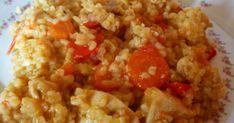 Csirkés-bulguros egytálétel recept képpel. Hozzávalók és az elkészítés részletes leírása. A Csirkés-bulguros egytálétel elkészítési ideje: 70 perc Crossfit Diet, Cod Fish, Chana Masala, Fried Rice, Quinoa, Food And Drink, Yummy Food, Healthy Recipes, Chicken