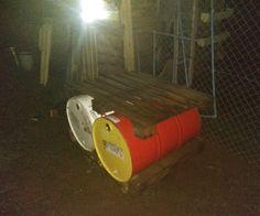 Colector de agua con tambores de 200lts y 2 pallets