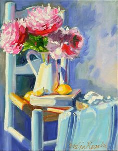 FRENCH CHAIR and PEONIES. Original oil painting by CECILIA ROSSLEE
