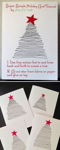Free motion on sewing machine to create sewn tree for Christmas card! Creative, handmade Christmas cards.