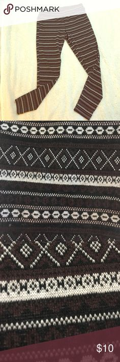 Maurices Leggings These are a thicker pair of leggings poly cotton blend never worn in great shape! Tribal type pattern, brown/purple, black, and white. Extra wide wast band for comfort. Mix of colors make for a wide array of color pairings! Maurices Pants Leggings